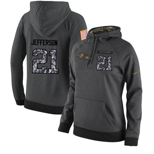 NFL Women's Nike Baltimore Ravens #21 Tony Jefferson Stitched Black Anthracite Salute to Service Player Performance Hoodie