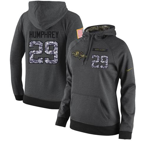 NFL Women's Nike Baltimore Ravens #29 Marlon Humphrey Stitched Black Anthracite Salute to Service Player Performance Hoodie