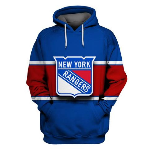 NY Rangers Blue All Stitched Hooded Sweatshirt