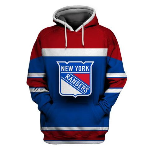 NY Rangers Blue Red All Stitched Hooded Sweatshirt
