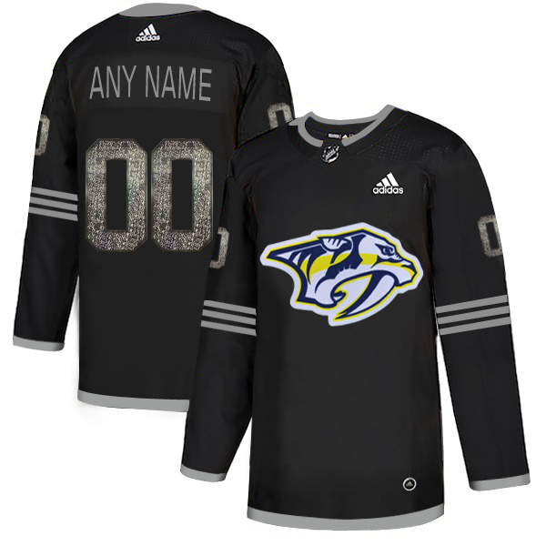 Nashville Predators Black Shadow Logo Print Men's Customized Adidas Jersey