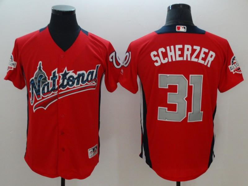 National League 31 Max Scherzer Red 2018 MLB All-Star Game Home Run Derby Jersey