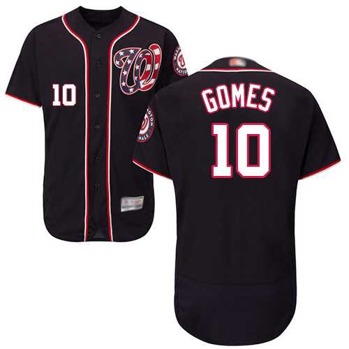 Nationals #10 Yan Gomes Navy Blue Flexbase Authentic Collection Stitched Baseball Jersey
