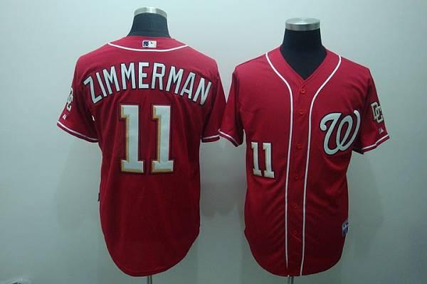 Nationals #11 Zimmerman Ryan Red Stitched MLB Jersey