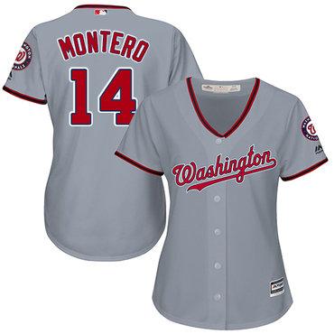 Nationals #14 Miguel Montero Grey Road Women's Stitched MLB Jersey