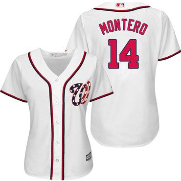 Nationals #14 Miguel Montero White Home Women's Stitched MLB Jersey