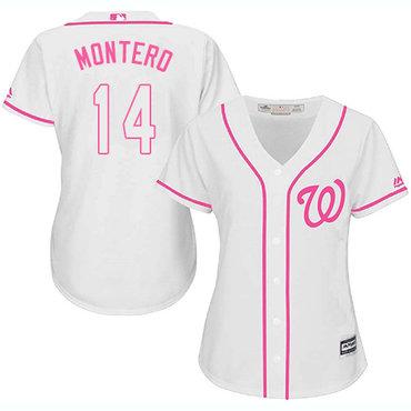 Nationals #14 Miguel Montero White Pink Fashion Women's Stitched MLB Jersey