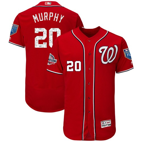 Nationals #20 Daniel Murphy Red 2018 Spring Training Authentic Flex Base Stitched MLB Jersey