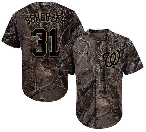 Nationals #31 Max Scherzer Camo Realtree Collection Cool Base Stitched Youth Baseball Jersey