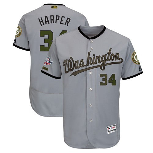 Nationals #34 Bryce Harper Grey Flexbase Authentic Collection 2018 Memorial Day Stitched Baseball Jersey