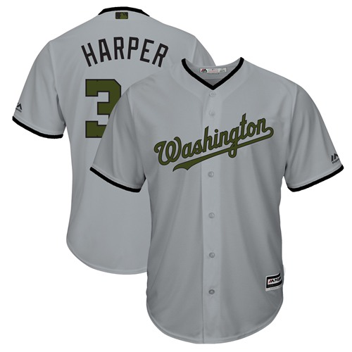 Nationals #34 Bryce Harper Grey New Cool Base 2018 Memorial Day Stitched Baseball Jersey