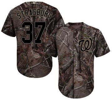 Nationals #37 Stephen Strasburg Camo Realtree Collection Cool Base Stitched Youth Baseball Jersey