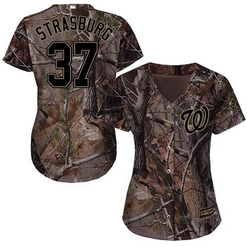 Nationals #37 Stephen Strasburg Camo Realtree Collection Cool Base Women's Stitched Baseball Jersey