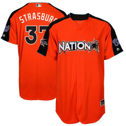 Nationals #37 Stephen Strasburg Orange 2017 All-Star National League Stitched MLB Jersey