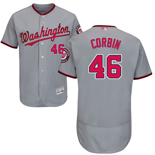 Nationals #46 Patrick Corbin Grey Flexbase Authentic Collection Stitched Baseball Jersey