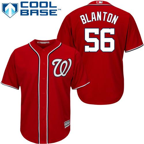 Nationals #56 Joe Blanton Red Cool Base Stitched Youth MLB Jersey