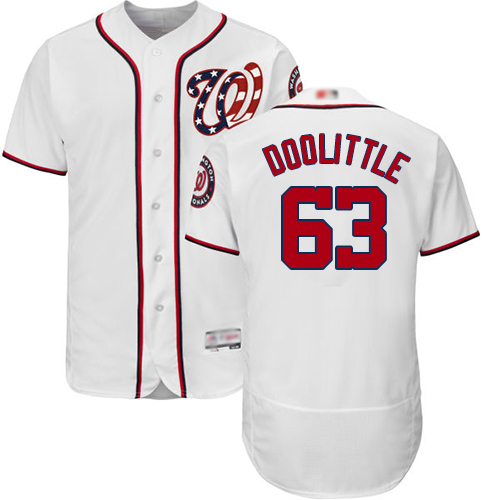 Nationals #63 Sean Doolittle White Flexbase Authentic Collection Stitched Baseball Jersey
