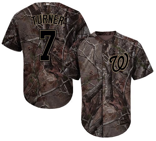 Nationals #7 Trea Turner Camo Realtree Collection Cool Base Stitched Youth Baseball Jersey