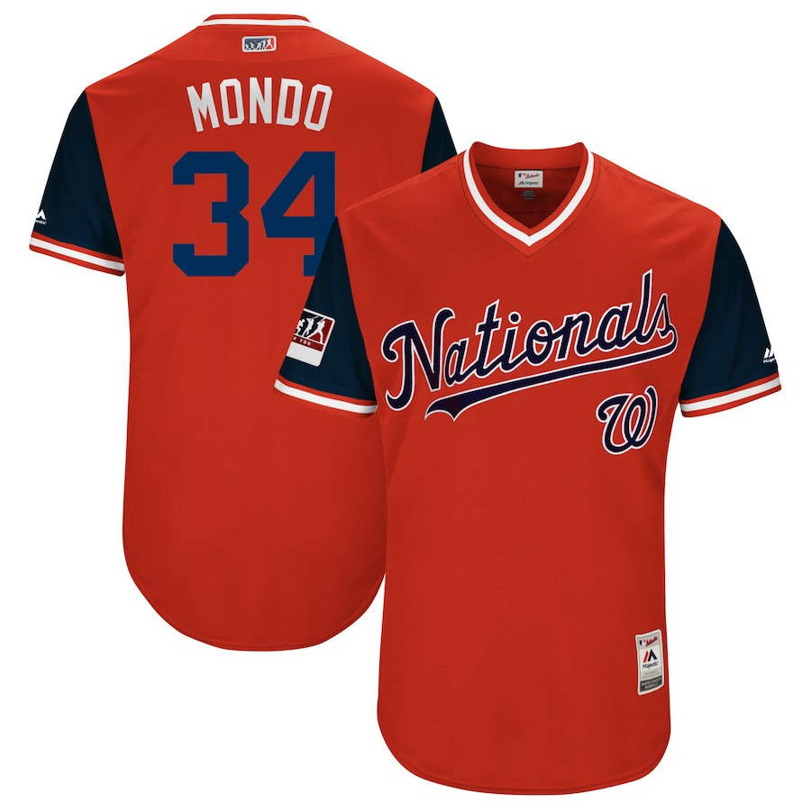 Nationals 34 Bryce Harper Mondo Red 2018 Players' Weekend Authentic Team Jersey