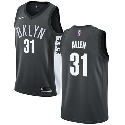Nets #31 Jarrett Allen Gray Basketball Swingman Statement Edition Jersey