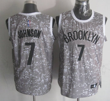 Nets 7 Joe Johnson Gray City Luminous Jersey