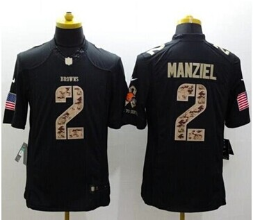 New  Browns #2 Johnny Manziel Black NFL Limited Salute to Service jersey