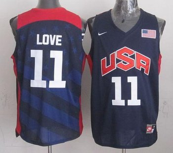 New 2012 Olympics Team USA #11 Kevin Love Dark Blue Stitched NBA Jersey