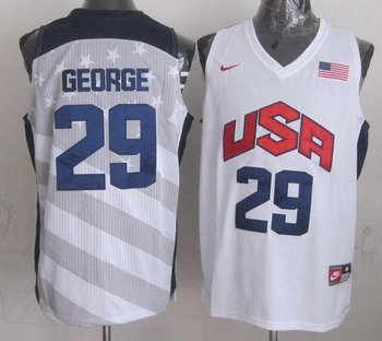 New 2012 Olympics Team USA #29 Paul George Dark White Stitched NBA Jersey