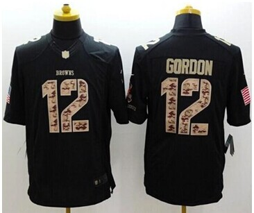 New Browns #12 Josh Gordon Black NFL Limited Salute to Service jersey