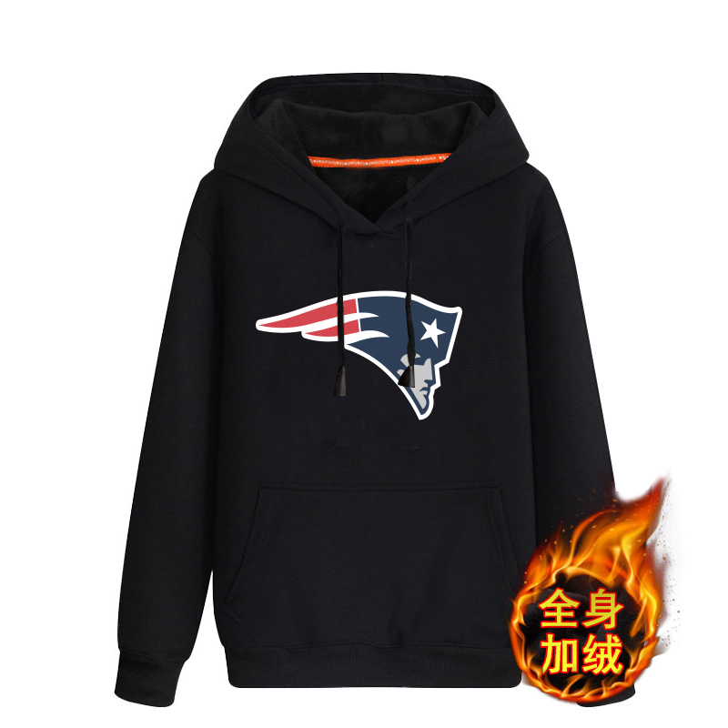 New England Patriots Black Men's Winter Thicken NFL Pullover Hoodie