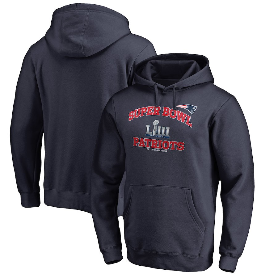 New England Patriots NFL Pro Line By Fanatics Branded Super Bowl LIII Bound Heart & Soul Pullover Hoodie Navy