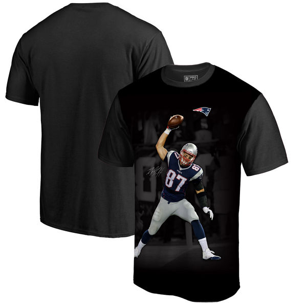 New England Patriots Rob Gronkowski NFL Pro Line By Fanatics Branded NFL Player Sublimated Graphic T Shirt Black