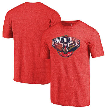 New Orleans Pelicans Fanatics Branded Red Distressed Logo Tri-Blend T-Shirt