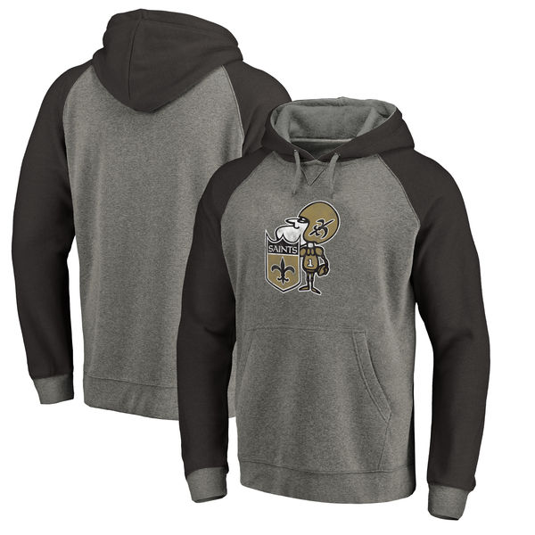 New Orleans Saints NFL Pro Line By Fanatics Branded Throwback Logo Tri-Blend Raglan Pullover Hoodie Gray Black