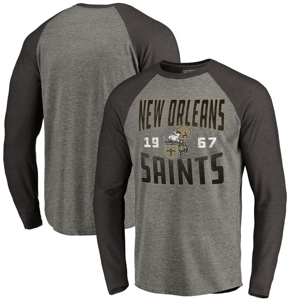 New Orleans Saints NFL Pro Line By Fanatics Branded Timeless Collection Antique Stack Long Sleeve Tri-Blend Raglan T-Shirt Ash
