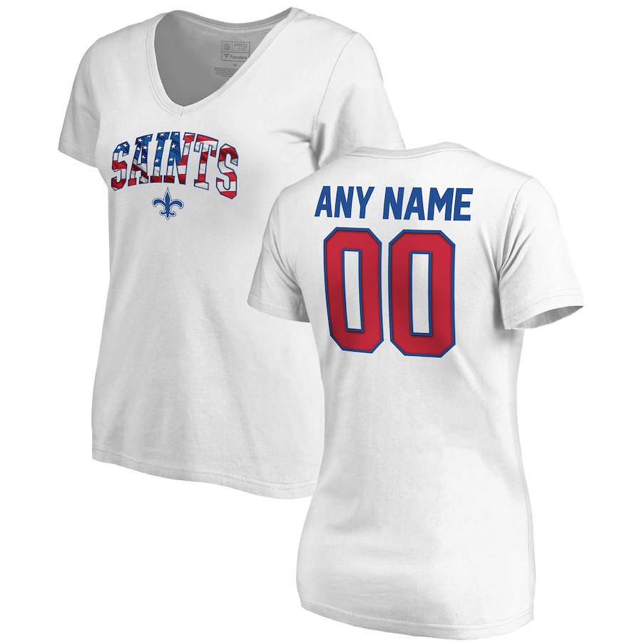 New Orleans Saints NFL Pro Line By Fanatics Branded Women's Any Name & Number Banner Wave V Neck T-Shirt White
