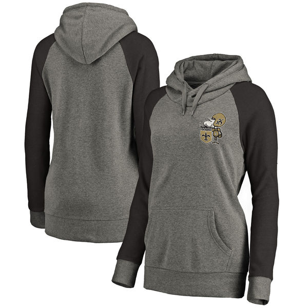 New Orleans Saints NFL Pro Line By Fanatics Branded Women's Plus Sizes Vintage Lounge Pullover Hoodie Heathered Gray