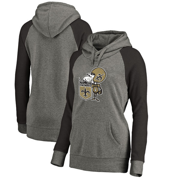 New Orleans Saints NFL Pro Line By Fanatics Branded Women's Throwback Logo Tri-Blend Raglan Plus Size Pullover Hoodie Gray Black