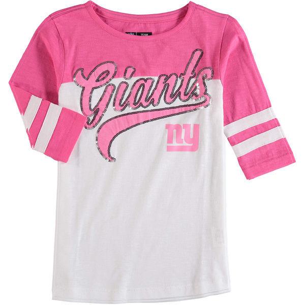 New York Giants 5th & Ocean Women's Half Sleeve T-Shirt Pink
