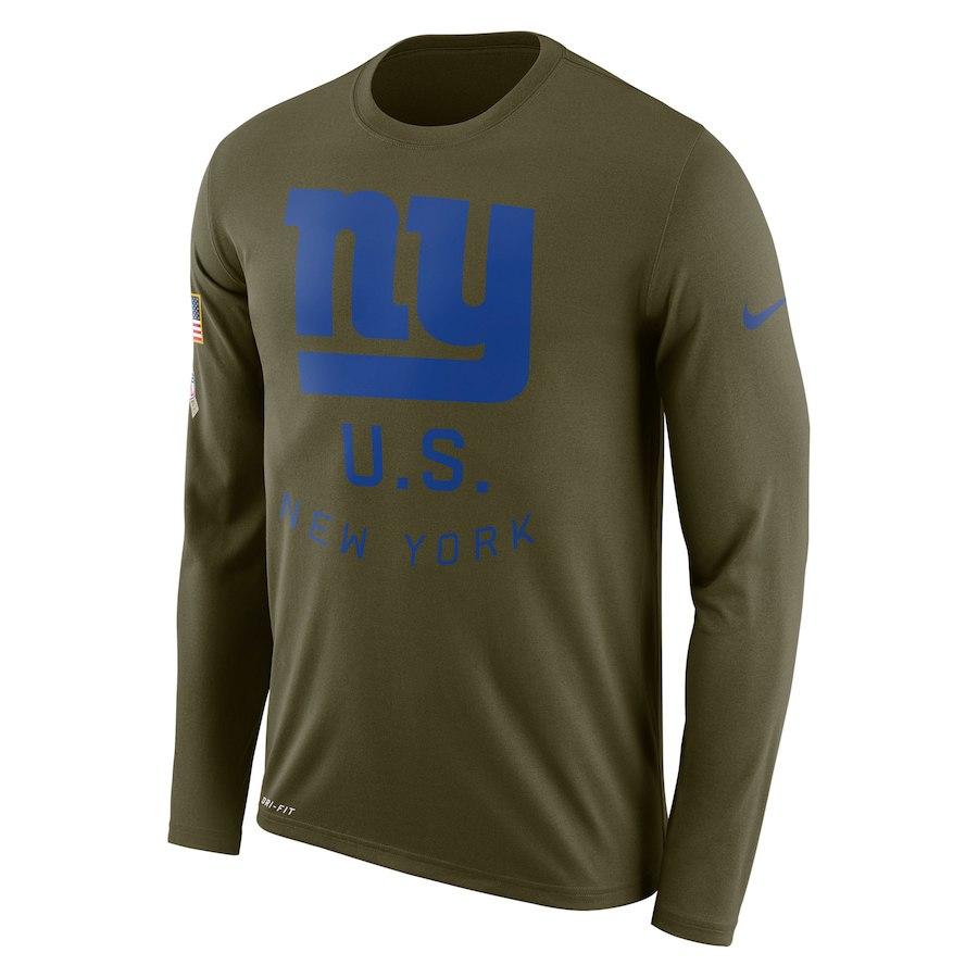 New York Giants Nike Salute To Service Sideline Legend Performance Long Sleeve T-Shirt Olive