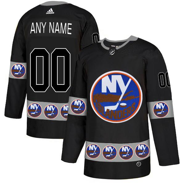 New York Islanders Black Men's Customized Team Logos Fashion Adidas Jersey