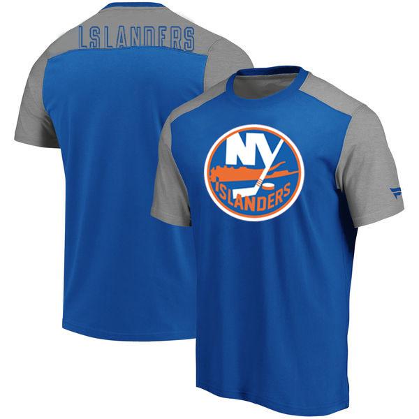 New York Islanders Fanatics Branded Iconic Blocked T-Shirt Blue Heathered Gray