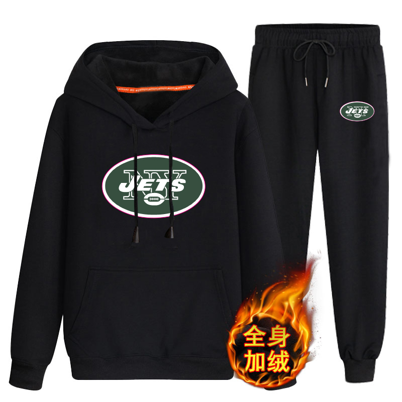 New York Jets Black Men's Winter Thicken NFL Pullover Hoodie & Pant