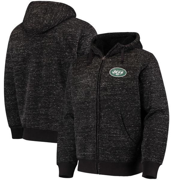 New York Jets G III Sports By Carl Banks Discovery Sherpa Full Zip Jacket Heathered Black
