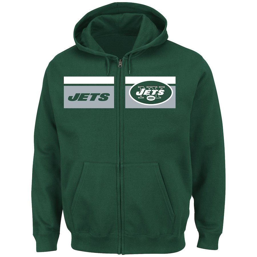 New York Jets Majestic Touchback Full Zip Hoodie Green