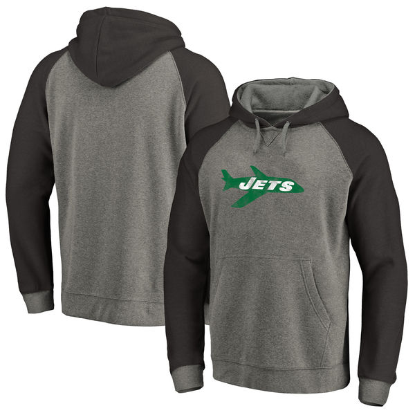 New York Jets NFL Pro Line By Fanatics Branded Throwback Logo Tri-Blend Raglan Pullover Hoodie Gray Black