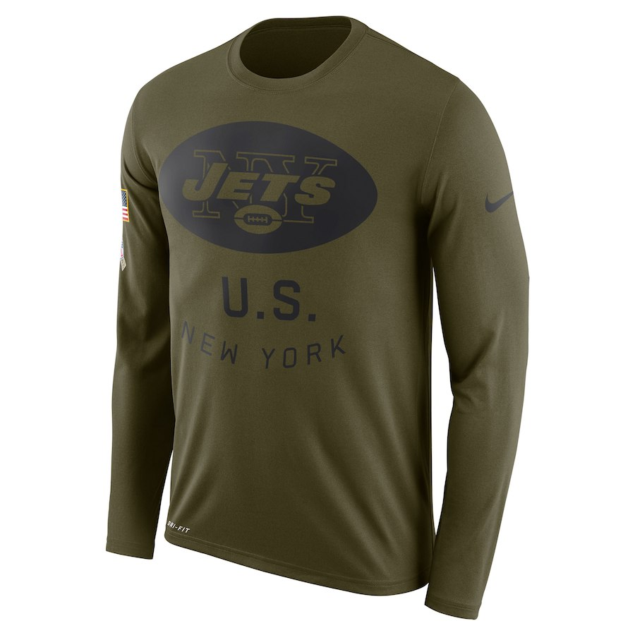 New York Jets Nike Salute To Service Sideline Legend Performance Long Sleeve T-Shirt Olive