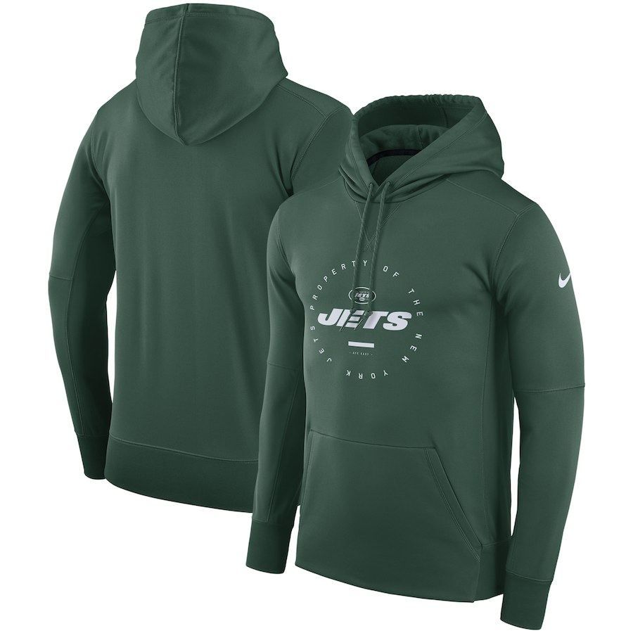 New York Jets Nike Sideline Property Of Wordmark Logo Performance Pullover Hoodie Green