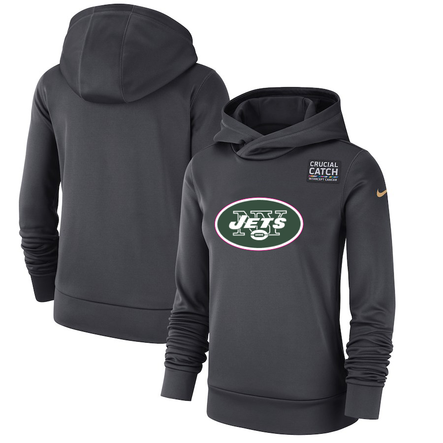 New York Jets Nike Women's Crucial Catch Performance Pullover Hoodie Anthracite