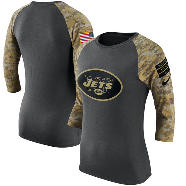 New York Jets Nike Women's Salute to Service Performance 34 Sleeve Raglan T-Shirt CharcoalCamo